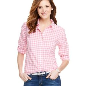 Vineyard Vines Pink and White Gingham Button Down